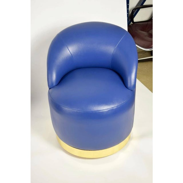 Karl Springer Style Chairs in Blue Leather with Brass Finish Base on Casters - Image 5 of 7