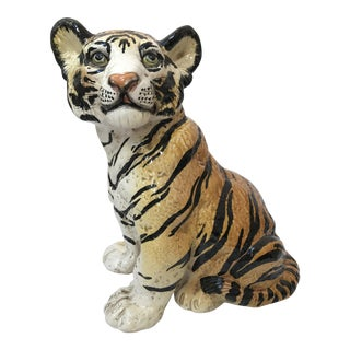 Hand Painted Italian Ceramic Tiger