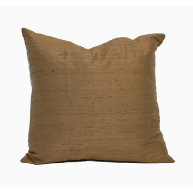 Image of Chocolate Raw Silk Square Pillow Covers - Pair