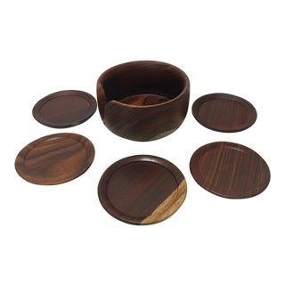 Vintage Hand Carved Rosewood Coasters & Holder - S/6