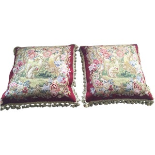Wool Tapestry Pillows - A Pair