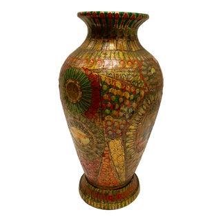 Folk Art Cigar Band Clay Vase