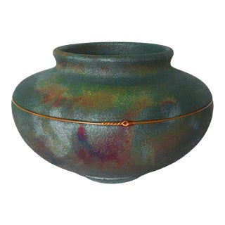 Signed Raku Pottery with Copper Accent