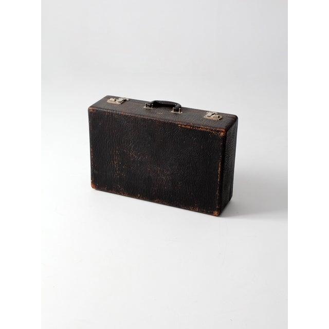 Vintage Black Leather Suitcase - Image 4 of 7