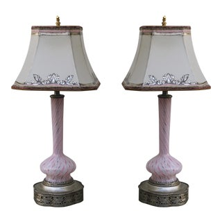 Murano Glass Lamps with Parchment Shades - A Pair