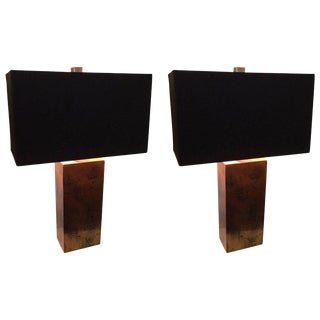 Mid-Century Modern Copper Lamps - A Pair