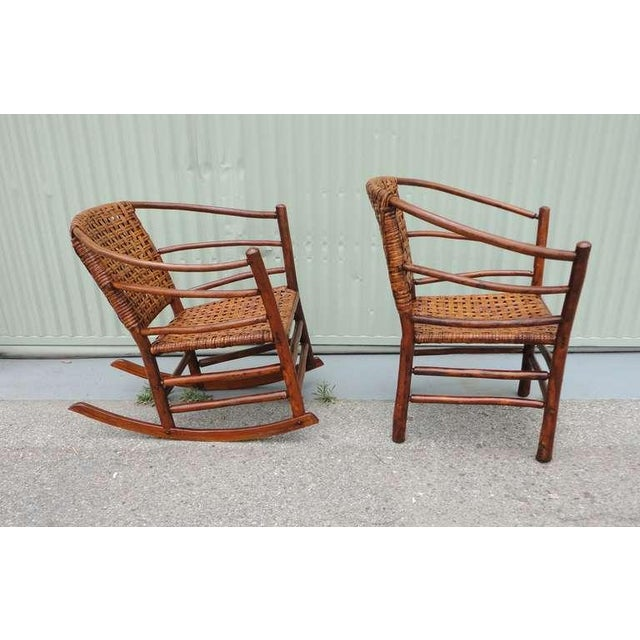 Image of Pair of Signed Old Hickory Barrel Back Rocker and Side Chair