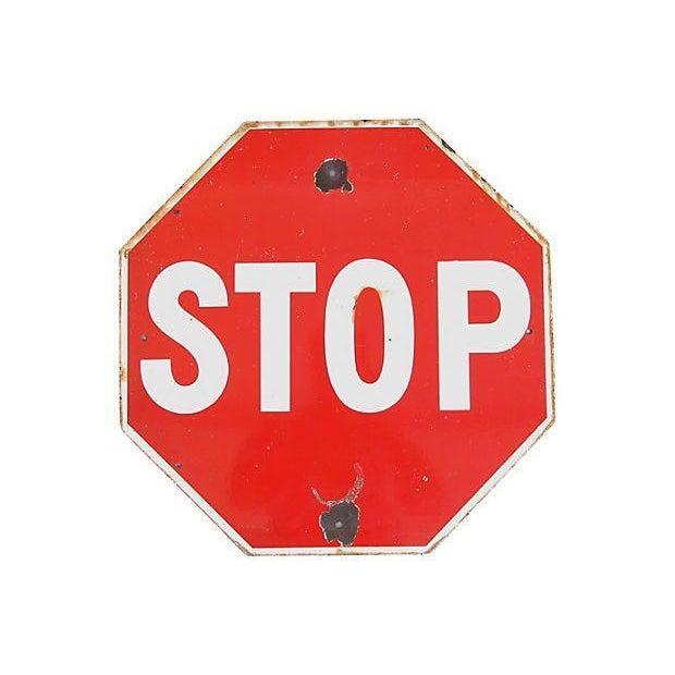 Large 1940s Enameled Porcelain Stop Sign - Image 2 of 2