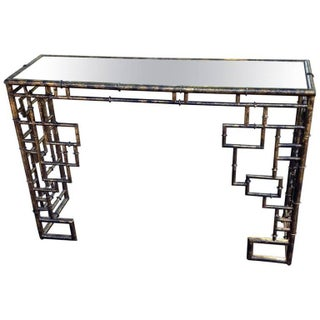 Faux Bamboo Console With Aged Mirror Top