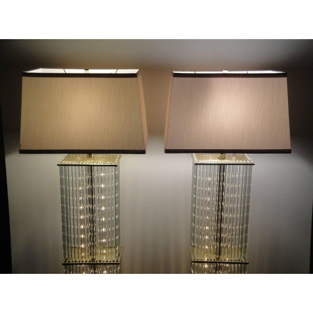 Pair of Sciolari Brass and Glass Floor Lamps for Lightolier - Image 5 of 9