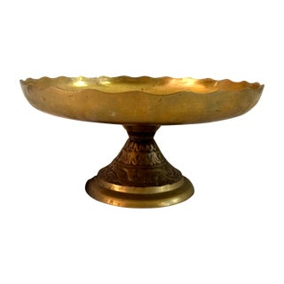Scalloped Brass Cake Stand