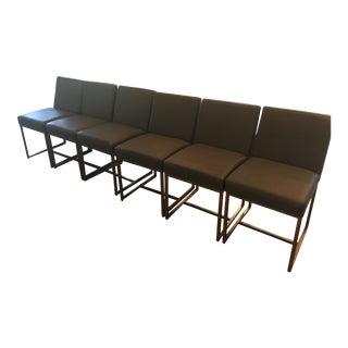 Restoration Hardware Rh Modern Emery Leather Side Chairs - Set of 6