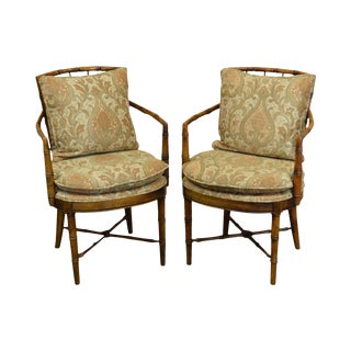 Custom Pair of Faux Bamboo Arm Chairs