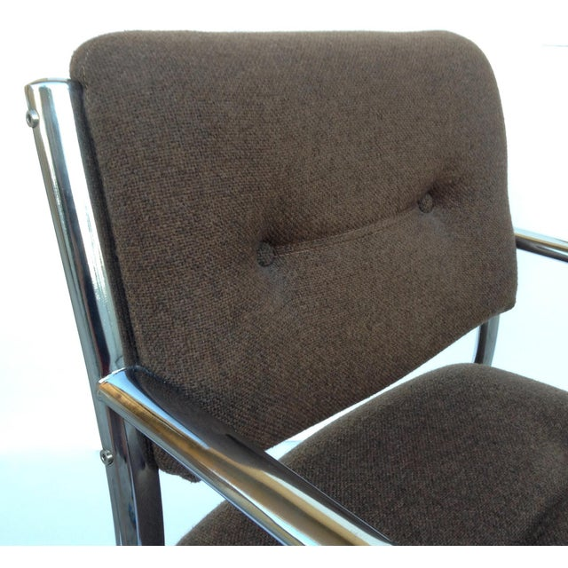 Vintage Chrome Arm Chairs w/Knoll Textile - A Pair - Image 7 of 11