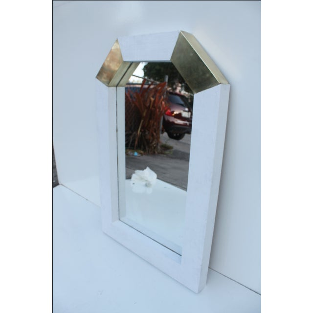 Karl Springer Style Cane and Brass Wall Mirror - Image 8 of 10