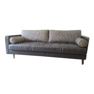 Leather and Walnut Mid-Century Sofa