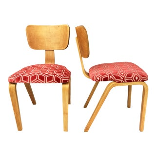Thonet Maple Bent Plywood Chairs With Geometric Cut Velvet - a Pair