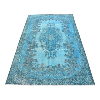 "Vintage Turkish Blue Overdyed Floral Oushak Rug - 5'8"" X 9'4"""