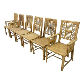 Bamboo & Cane Island Style Chairs - Set of 6