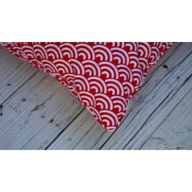 Custom Red White Modern Designer Pillows - A Pair - Image 7 of 7