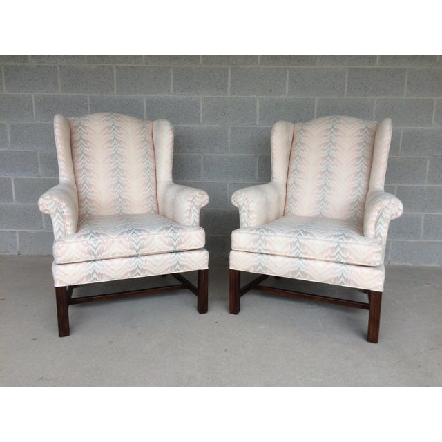 Drexel Traditional Classics Chippendale Style Wing Back Chairs - A Pair - Image 2 of 9