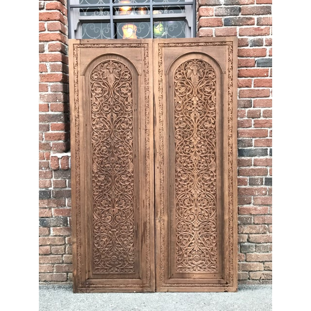 Antique Carved Anglo-Indian Doors - Pair - Image 3 of 6 - Antique Carved Anglo-Indian Doors - Pair Chairish