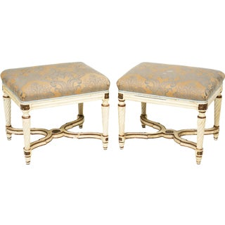 Early 20th Century Uphostered Benches - A Pair