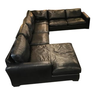 "Room & Board Black Leather ""Metro"" 4-Pc Sectional Sofa"