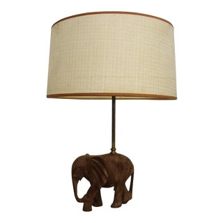 Hollywood Regency Sculptural Wood Elephant Table Lamp