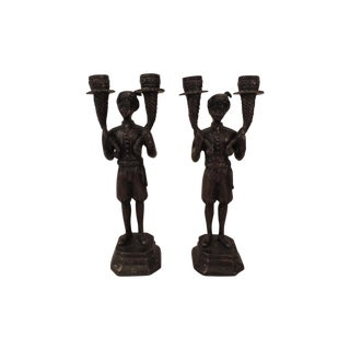 Bronze Blackmoors Candle Holders - A Pair