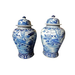 Blue & White Lidded Ginger jars, Pair