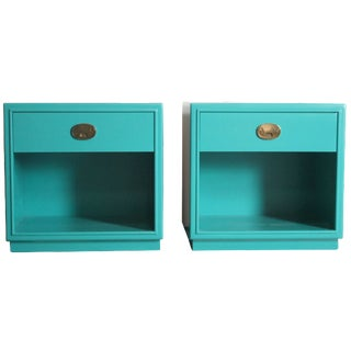 Drexel Teal-Painted Nightstands - A Pair