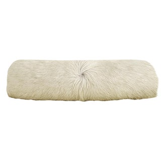 Rare Ivory Cowhide Bolster Pillow