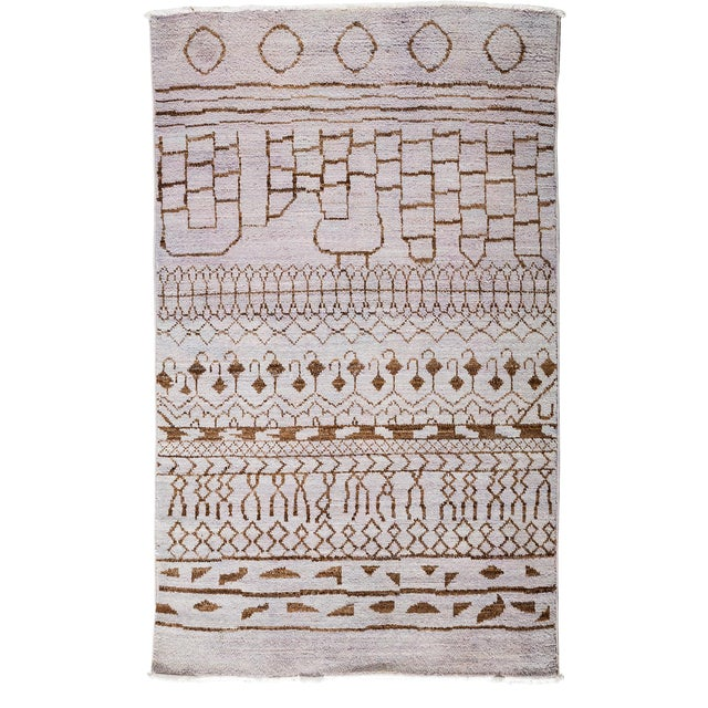 """Image of Moroccan Hand Knotted Area Rug - 4'1"""" X 6'6"""""""