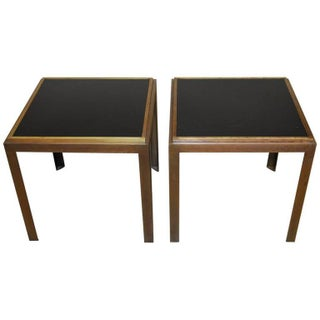 Iron Brass and Formica Side Tables - Pair