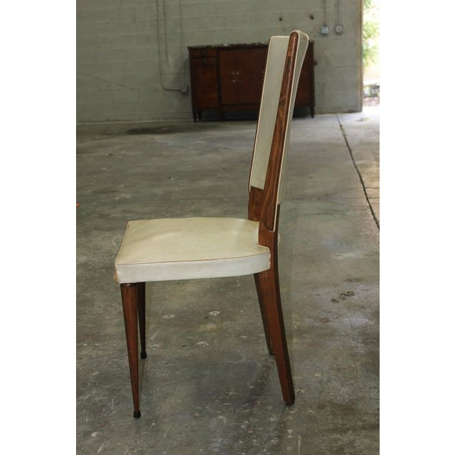 Set of Six French Art Deco Solid Mahogany Dining Chairs, circa 1940s. - Image 8 of 10
