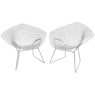 Harry Bertoia Diamond White Chairs - A Pair