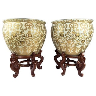 Gold Leaf Hand Painted Cachepots - A Pair