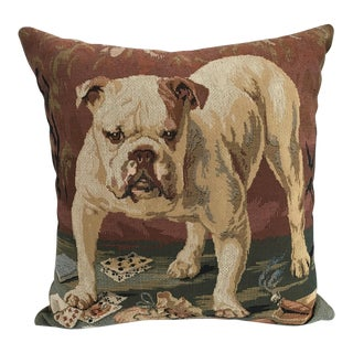 Gambling Bulldog Tapestry Pillow