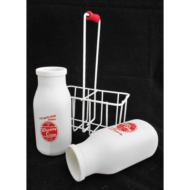 Retro White Glass Cream Bottles and Metal Carrier - Image 5 of 10
