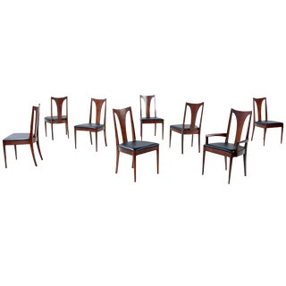 Broyhill Saga Walnut Dining Chairs - Set of 8