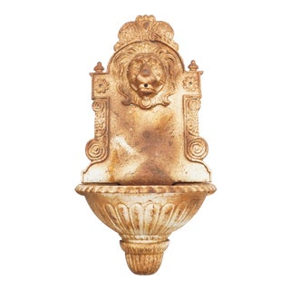 Antique French Lion Wall Fountain