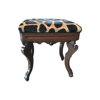 Walnut & Zebra Hide Stool
