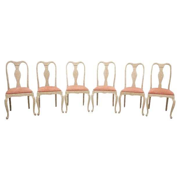 Queen Anne Blush Dining Chairs - Set of 6 - Image 1 of 7