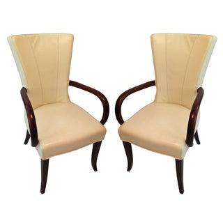 Italian Mahogany & Leather Wingback Chairs - Pair
