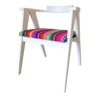 Mid-Century Bentwood Accent Chair Upholstered in Vintage Serape