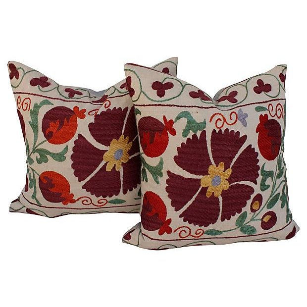 Suzani Embroidered Pillows - A Pair - Image 1 of 6