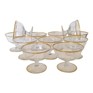 Gold Rimmed Champagne or Compote Glasses - Set of 11