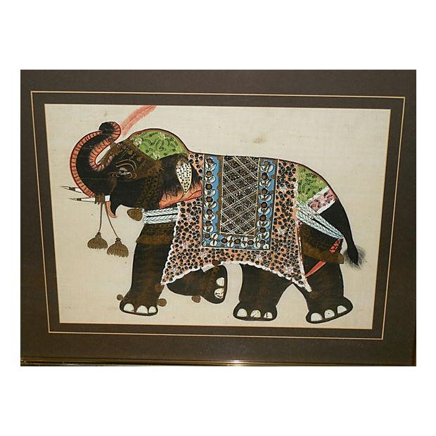 Indian Elephant Painting on Silk - Image 3 of 7