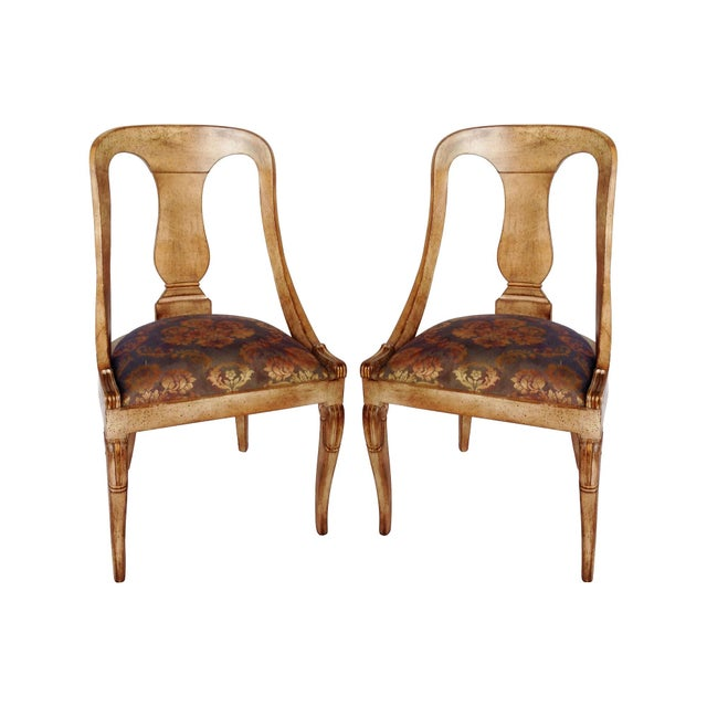 Image of Damask Upholstered Spoon-Back Chairs - Pair